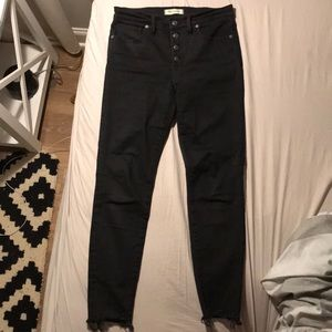 9 inch High-Rise black skinny jean - button fly!